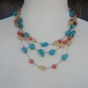 Talbots Three Strand Layer Gemstone Necklace